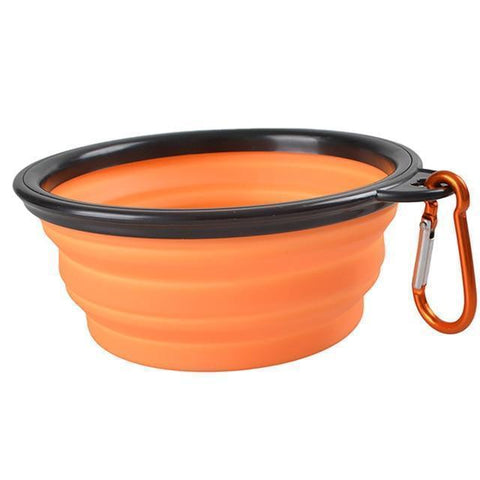 Food and bowl Portable Feeder- Outdoor Hiking Travel Dog Bowl Folding Telescopic for Food the Dog Drinking Water Pet Bowl Orange / S