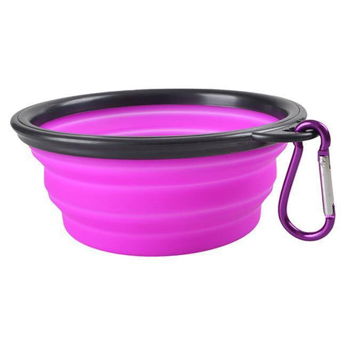 Food and bowl Portable Feeder- Outdoor Hiking Travel Dog Bowl Folding Telescopic for Food the Dog Drinking Water Pet Bowl Purple / S