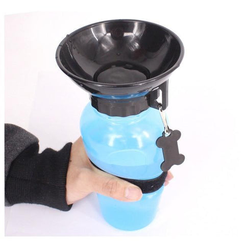 Image of Food and bowl Portable Pet Dog Water Bottle Blue