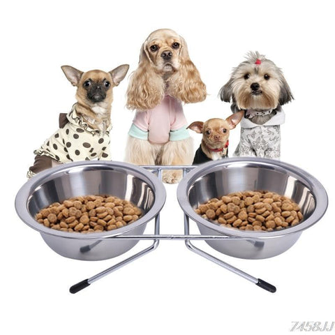 Food and bowl Stainless Steel Dog Bowl  Puppy Travel Feeding Feeder Double Food Bowl Water Dish 11cm