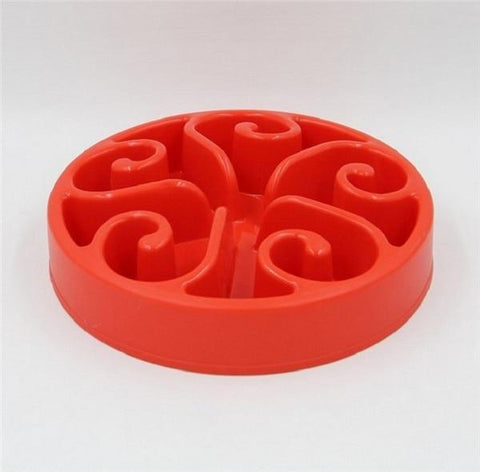 Food and bowl Wave Master Slow Feed Bowl Red