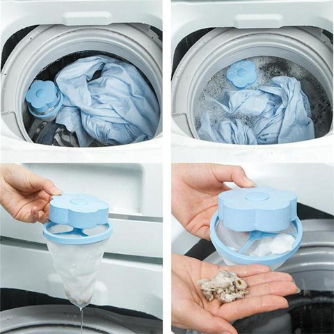 Image of Health Care and Cleaning Filter Bag Mesh Hair Removal Device Wool Floating Washer Laundry Cleaning Tool Blue