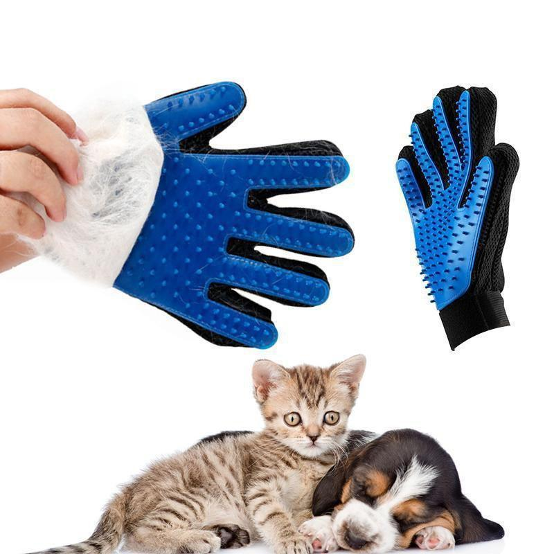 Health Care and Cleaning Pet Glove Grooming & Deshedding Brush, Efficient For Pet Hair Removal left hand green
