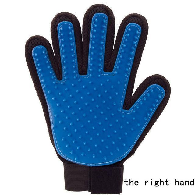 Health Care and Cleaning Pet Glove Grooming & Deshedding Brush, Efficient For Pet Hair Removal right hand blue