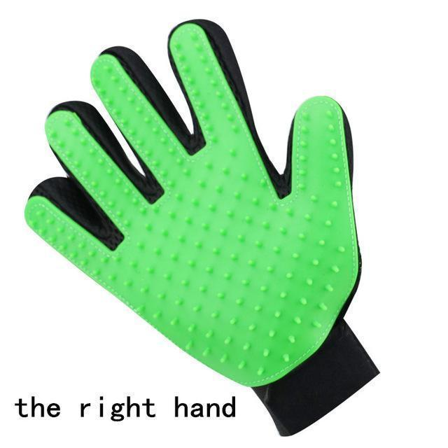 Health Care and Cleaning Pet Glove Grooming & Deshedding Brush, Efficient For Pet Hair Removal right hand green