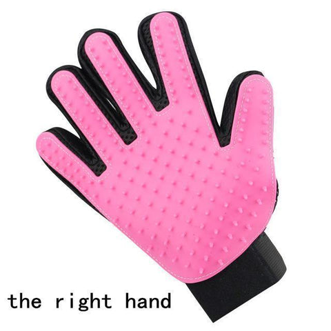 Health Care and Cleaning Pet Glove Grooming & Deshedding Brush, Efficient For Pet Hair Removal right hand pink