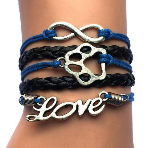Jewelry Paw Bracelets blue with black