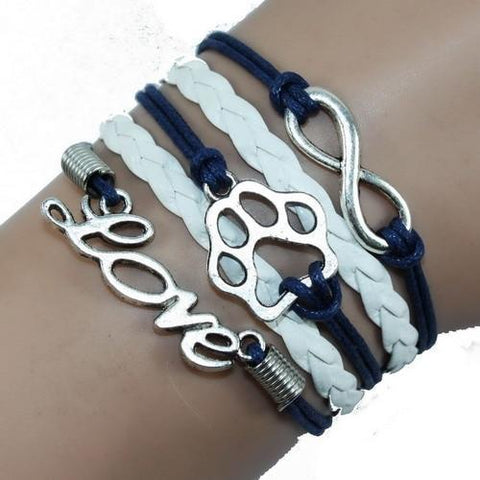 Jewelry Paw Bracelets blue with white