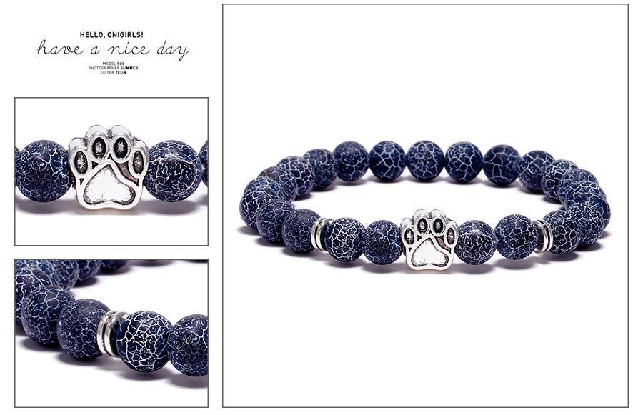 Jewelry Paw Bracelets-Lovely Heart Yoga Bracelet Antique Silver Dog Hand Paw Charm Bracelet Bangles 7 Colors Stone Dog Owners Jewelry Black