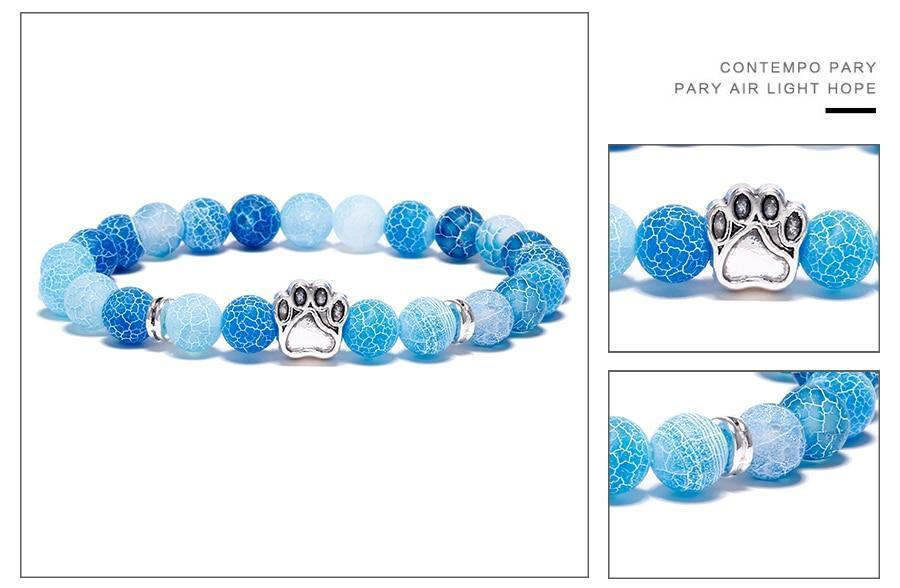 Jewelry Paw Bracelets-Lovely Heart Yoga Bracelet Antique Silver Dog Hand Paw Charm Bracelet Bangles 7 Colors Stone Dog Owners Jewelry Blue