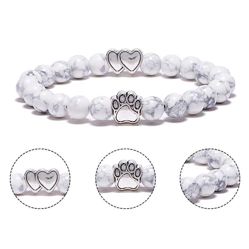 Jewelry Paw Bracelets-Lovely Heart Yoga Bracelet Antique Silver Dog Hand Paw Charm Bracelet Bangles 7 Colors Stone Dog Owners Jewelry Lava Stone