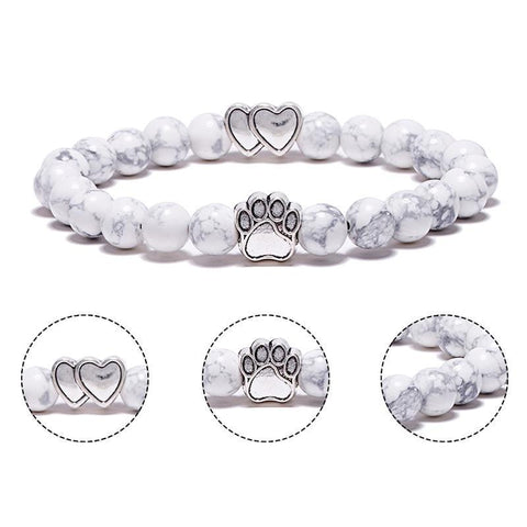 Image of Jewelry Paw Bracelets-Lovely Heart Yoga Bracelet Antique Silver Dog Hand Paw Charm Bracelet Bangles 7 Colors Stone Dog Owners Jewelry Lava Stone