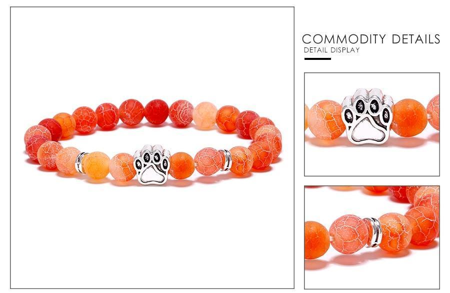 Jewelry Paw Bracelets-Lovely Heart Yoga Bracelet Antique Silver Dog Hand Paw Charm Bracelet Bangles 7 Colors Stone Dog Owners Jewelry Orange