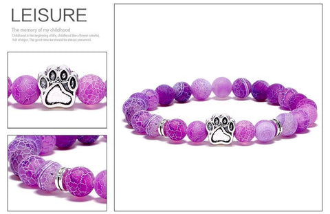 Image of Jewelry Paw Bracelets-Lovely Heart Yoga Bracelet Antique Silver Dog Hand Paw Charm Bracelet Bangles 7 Colors Stone Dog Owners Jewelry Purple