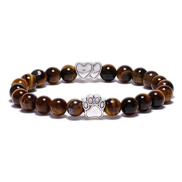 Jewelry Paw Bracelets-Lovely Heart Yoga Bracelet Antique Silver Dog Hand Paw Charm Bracelet Bangles 7 Colors Stone Dog Owners Jewelry Tiger Eye Stone