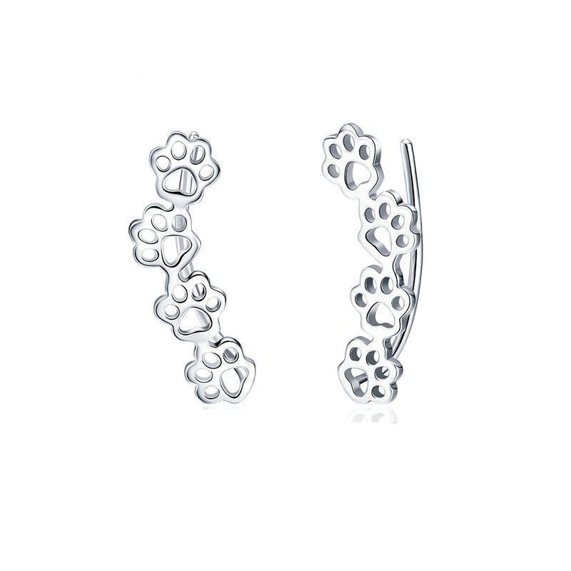 Jewelry Paw Earring-Sterling Silver Paw Trail Cat And Dog Footprints Stud Earrings Default Title