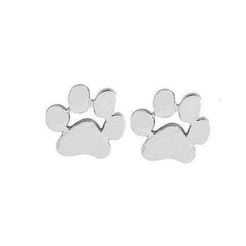 Image of Jewelry Paw Earrings - Fashion earrings Animal Pet Paw Stud Earrings for Women Small Cat and Dog Paw Earrings Silver