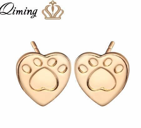 Image of Jewelry Paw Earrings - Lovely Paw Dog Earrings Children Kids Jewelry Pet Lover Chihuahua Poodle Bulldog  Stud Earring Love paw