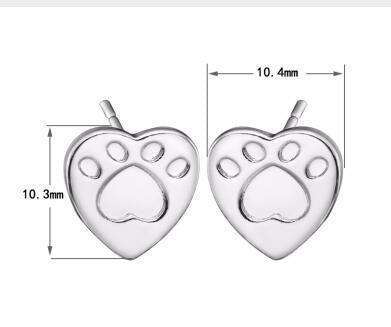 Jewelry Paw Earrings - Lovely Paw Dog Earrings Children Kids Jewelry Pet Lover Chihuahua Poodle Bulldog  Stud Earring Love paw-S