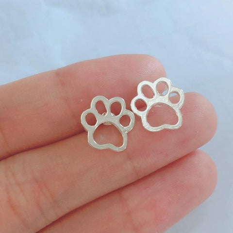 Image of Jewelry Paw Earrings - Lovely Paw Dog Earrings Children Kids Jewelry Pet Lover Chihuahua Poodle Bulldog  Stud Earring Paw silver