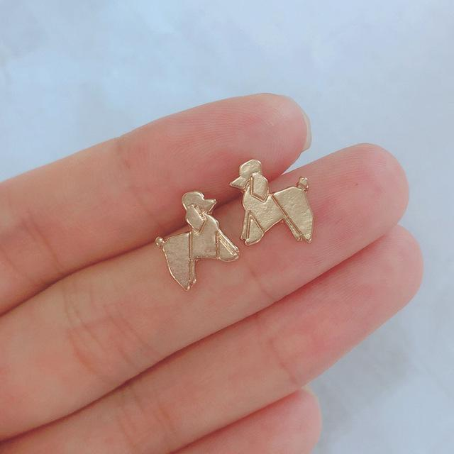 Jewelry Paw Earrings - Lovely Paw Dog Earrings Children Kids Jewelry Pet Lover Chihuahua Poodle Bulldog  Stud Earring Poodle-G