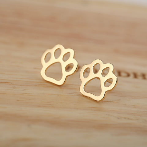 Image of Jewelry Paw Earrings -  Pet dog paw stud earrings for women Puppy cute  earrings Gold