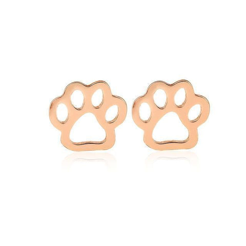 Jewelry Paw Earrings -  Pet dog paw stud earrings for women Puppy cute  earrings Rose Gold