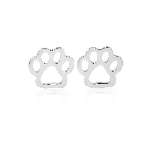Image of Jewelry Paw Earrings -  Pet dog paw stud earrings for women Puppy cute  earrings Silver