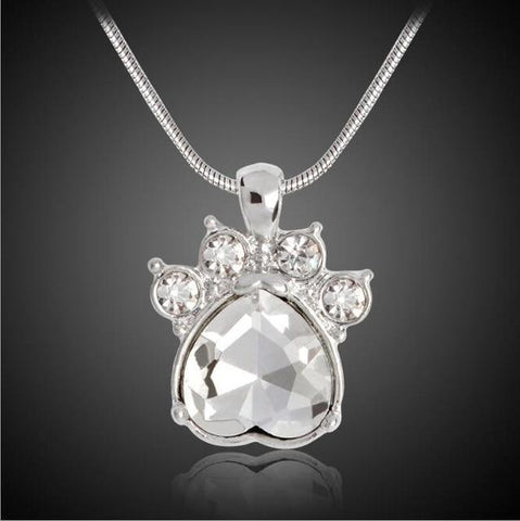 Jewelry Paw Necklace-Quartz Crystal Dog Paw Birthstone Pendant Necklace For Women Long Chain April