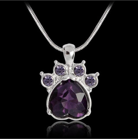 Image of Jewelry Paw Necklace-Quartz Crystal Dog Paw Birthstone Pendant Necklace For Women Long Chain Febrary