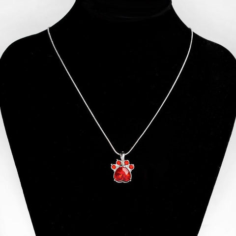 Jewelry Paw Necklace-Quartz Crystal Dog Paw Birthstone Pendant Necklace For Women Long Chain January