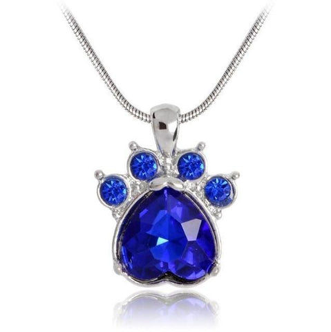 Image of Jewelry Paw Necklace-Quartz Crystal Dog Paw Birthstone Pendant Necklace For Women Long Chain September