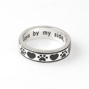 Jewelry Paw Ring-Always by my side, Forever in my Heart Animal Pet Ring Dog paw footprints Love Heart Jewelry Ring 6