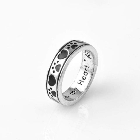 Image of Jewelry Paw Ring-Always by my side, Forever in my Heart Animal Pet Ring Dog paw footprints Love Heart Jewelry Ring 6