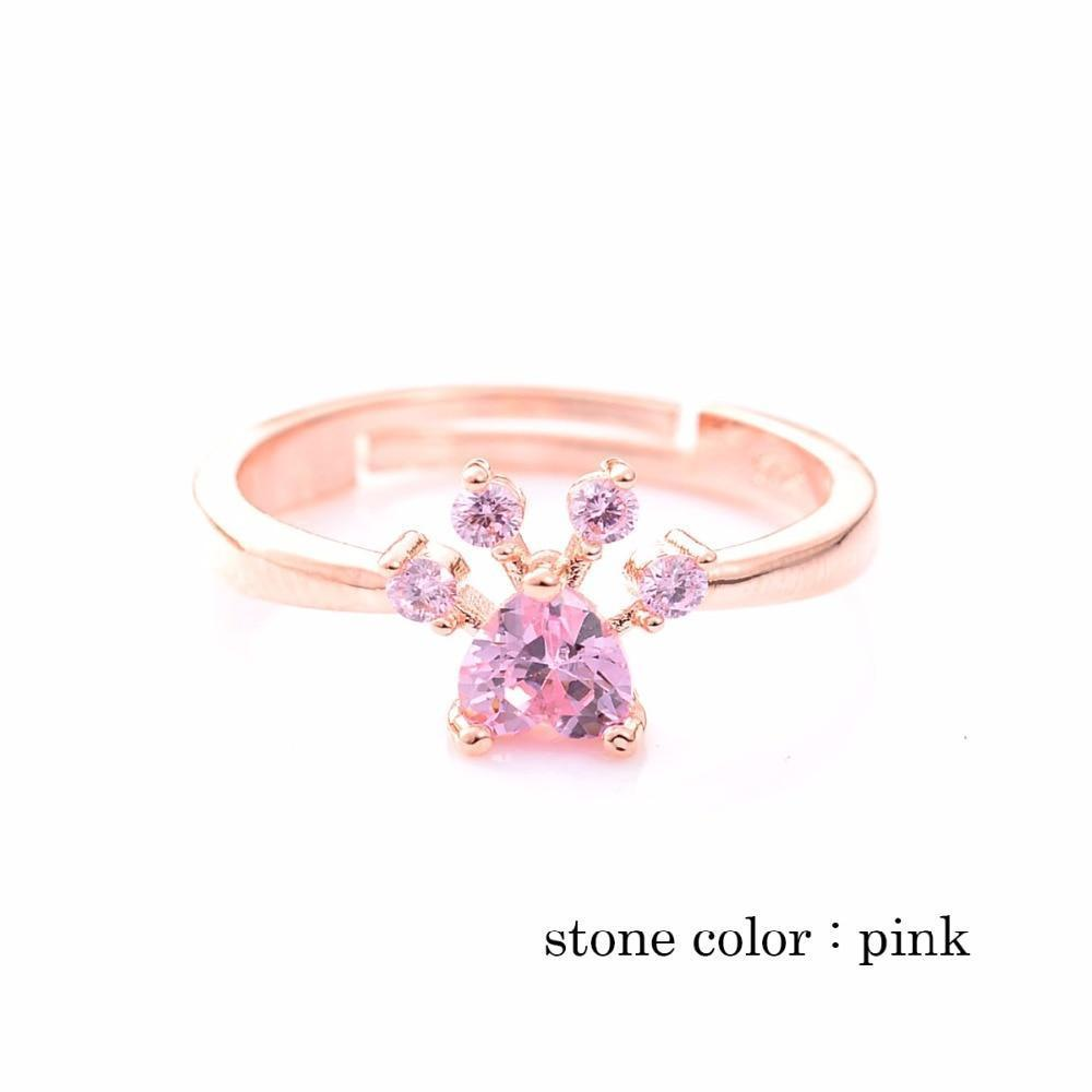 Jewelry Paw Ring-Gold Re-sizable Rings For Women Romantic Animal Heart Rings pink