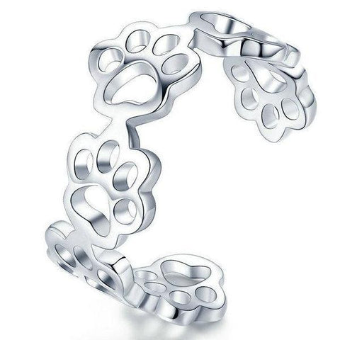 Image of Jewelry Paw Ring-Sterling Silver Adjustable Cat And Dog Footprints Paw Trail Rings Default Title
