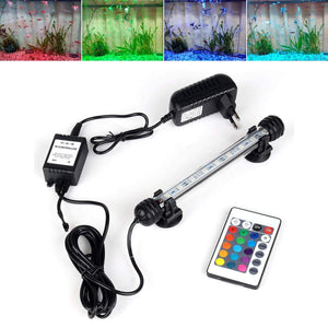 Lightings Aquarium Fish Tank LED Light Remote Waterproof  LED Bar Light Lamp EU Plug 18CM