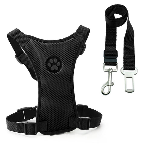 Image of Safety Dog Safety Car Harness Seat Belt - Premium Black / S