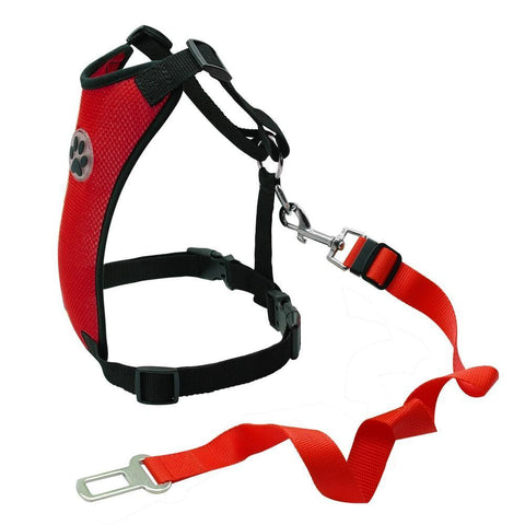 Safety Dog Safety Car Harness Seat Belt - Premium Red / S