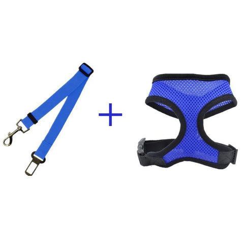 Safety Dog Safety Car Seat Belt Blue Belt+Harness
