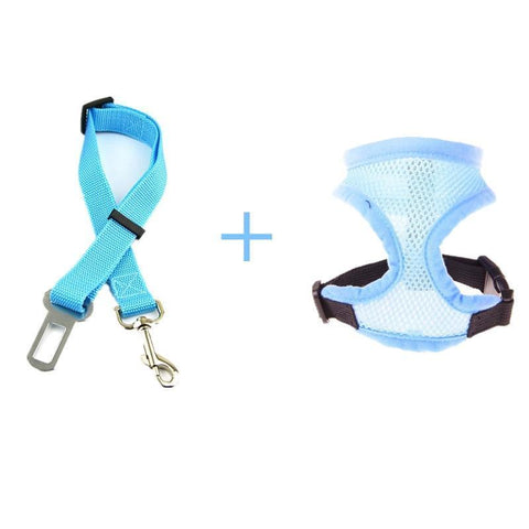 Image of Safety Dog Safety Car Seat Belt Sky Blue Belt+Harness