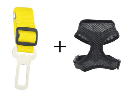 Image of Safety Dog Safety Car Seat Belt Yellow Belt+Black Harness