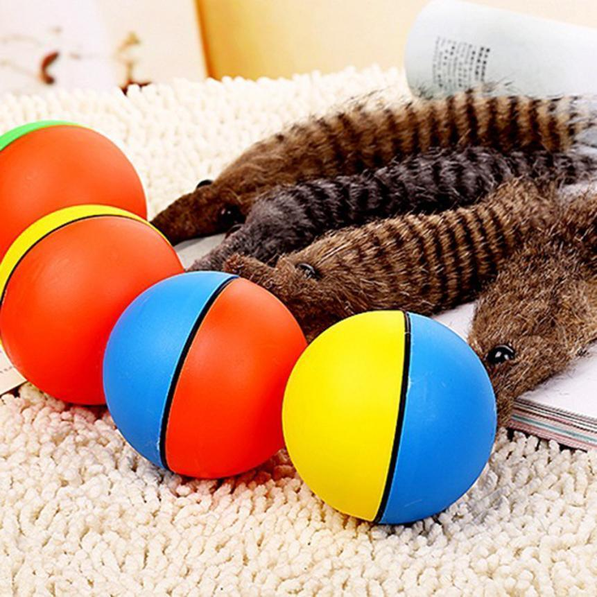 Toys Dog Activation Ball Automatic Rolling Weasel Tail Mix Color