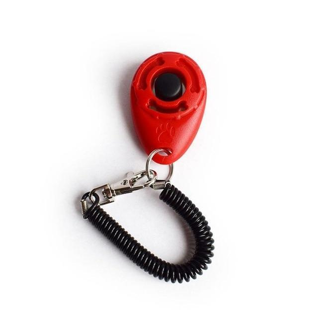 Training and behavior Bark Deterrent Dog Clicker (Key Dog Bark Deterrents Pet Training Teaching Aid Tools With Wrist Strap) Red