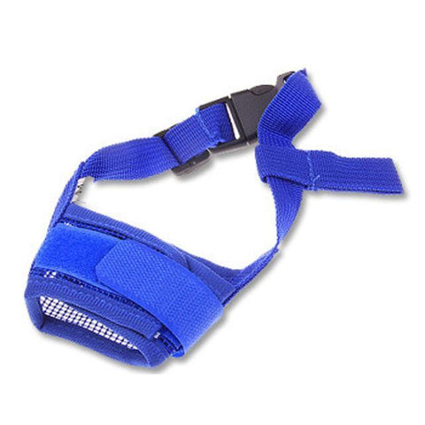 Training and behavior Hot Pet Dog Adjustable Mask Bark Bite Mesh Mouth Muzzle Grooming Anti Stop Chewing Blue / S