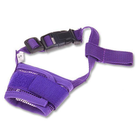 Training and behavior Hot Pet Dog Adjustable Mask Bark Bite Mesh Mouth Muzzle Grooming Anti Stop Chewing Purple / S