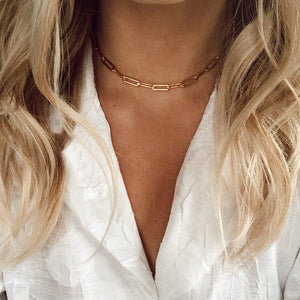 Lori- 18k paperclip necklace-Best Girl Store