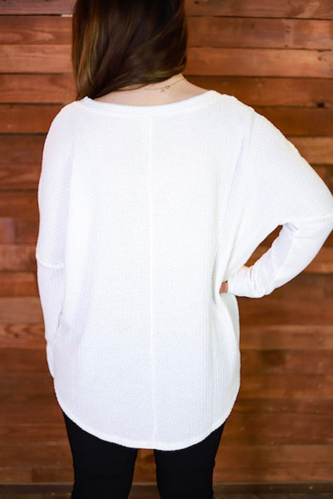Cozied Up Waffle Knit Top - Ivory