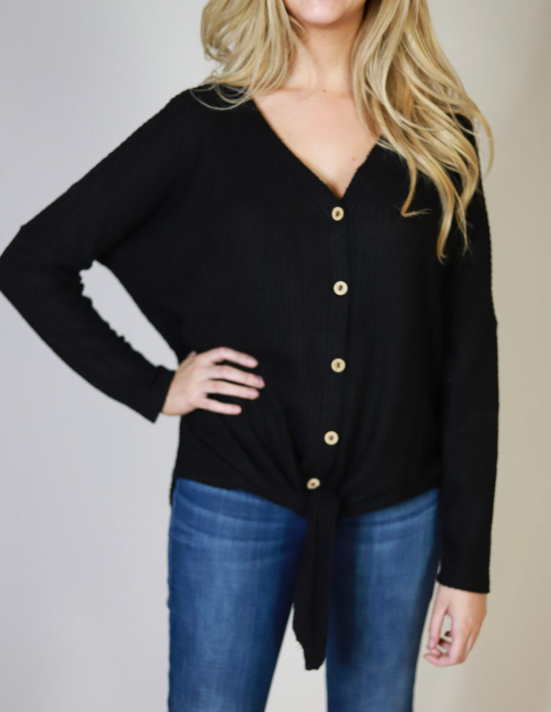 COZIED UP WAFFLE KNIT TOP - Black