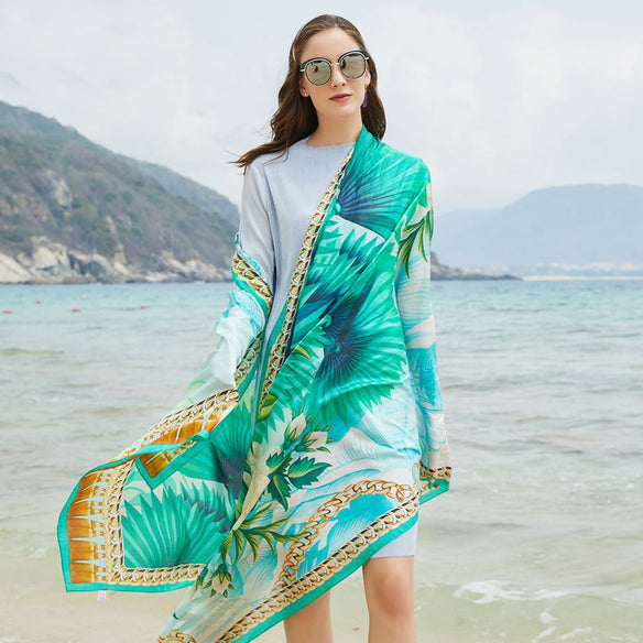 Aquamarine Palm Silk Chiffon Wrap